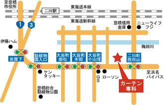 豊橋ショールームアクセスマップ